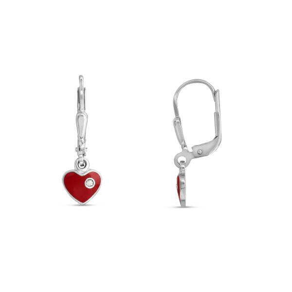 Kinder Ohrhänger 925 Silber rotes bewegliches Herz