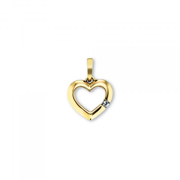 Kinder Anhänger Herz mit Zirkonia ca. 15 mm groß, 333 Gold