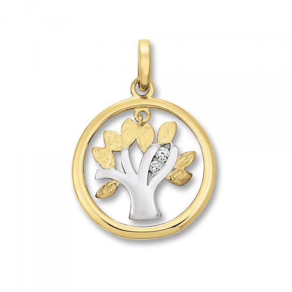 Anhänger Lebensbaum mit Zirkonia, bicolor 333 Gold/Weißgold