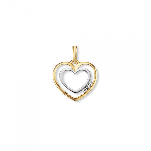 Anhänger doppel Herz mit Brillanten, 585 Gold/Weißgold