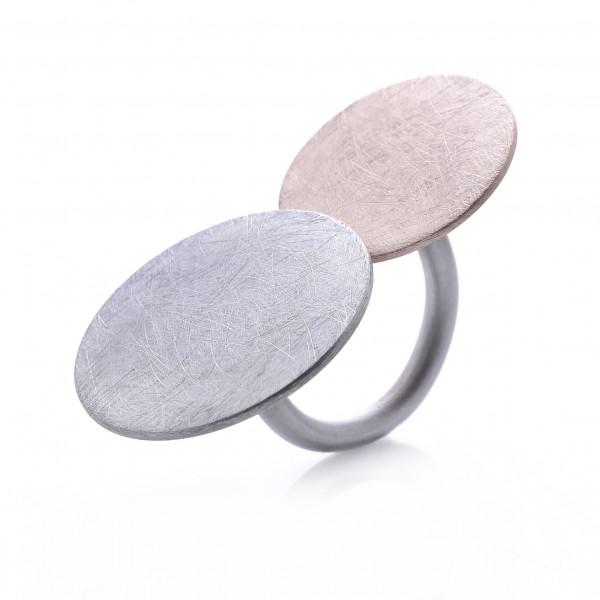 Design Ring Edelstahl, teils rosegold farben eismatt