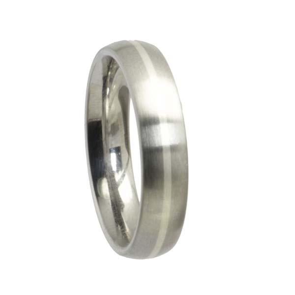 Edelstahlring mit Silberstreifen abgerundet 5 mm