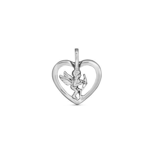 Anhänger 925 Silber Herzform mit Amor in der Mitte