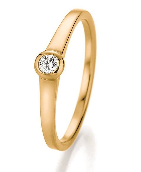 Verlobungsring Zargenfassung in 585 Gelbgold mit Brillant 0,10 Karat
