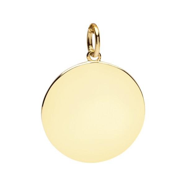 Anhänger rund zum gravieren 925 Silber goldfarben - Nana Kay