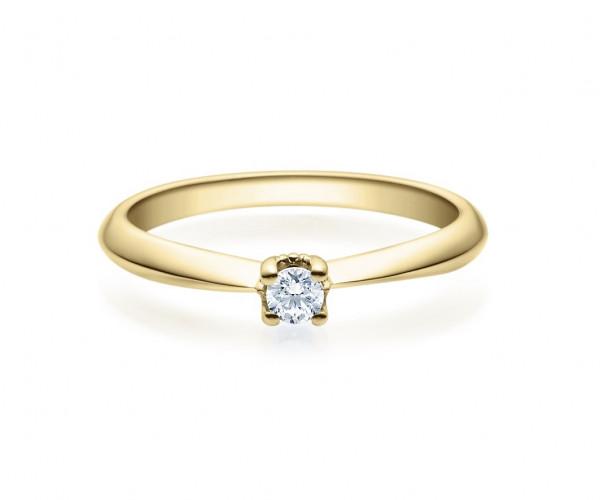 Verlobungsring 585 Gold - 0,1 Karat Brillant in 4-Krappenfassung