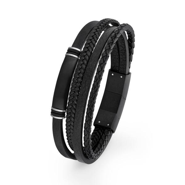 Armband Herren Leder schwarz teils geflochten mehrreihig mit Schmuck Element s.Oliver