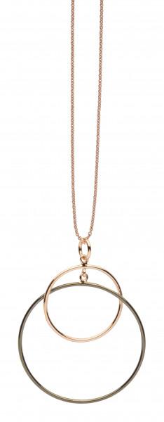 Halskette mit Anhänger Swinging Silver Coll. silber bicolor rotgoldfarben geschwärzt Silver Trends