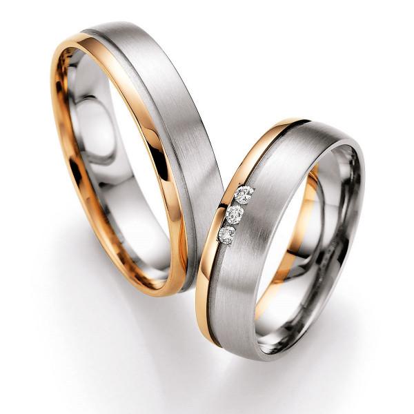 Trauringe 585 Rotgold/Weissgold Eheringe Hochzeitsringe