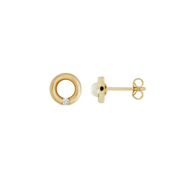 Ohrstecker Perle mit Zirkonia-Steichen ca. 7 mm 333 Gold