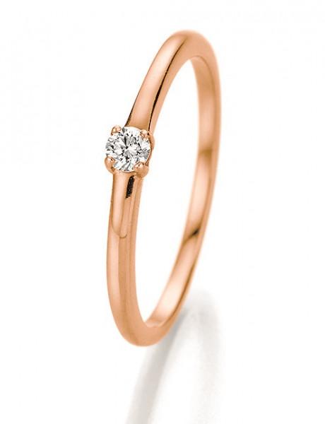 Verlobungsring 585 Rosegold 4er Krönchenfassung mit Brillant 0,10 Karat