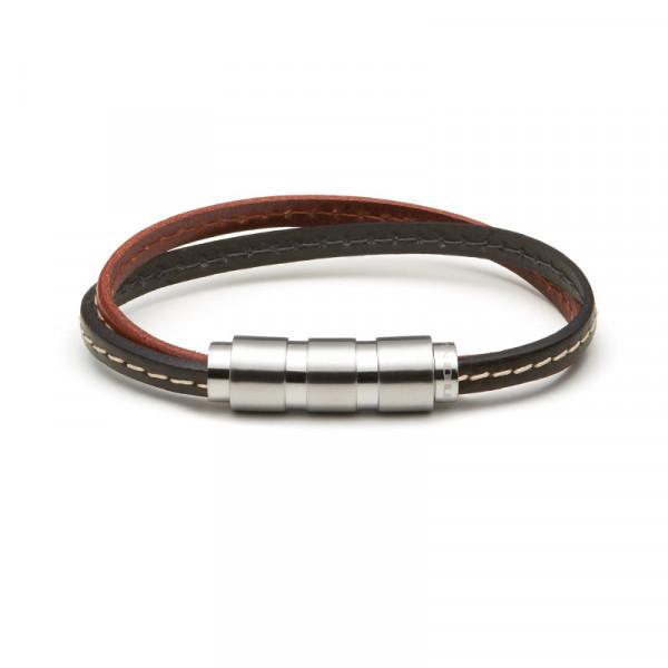 MONOMANIA Herrenarmband in Leder schwarz braun mit Edelstahl Magnetschließe