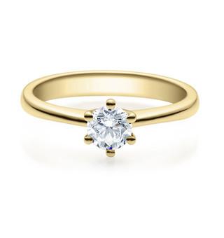 Verlobungsring 585 Gold - 0,5 Karat Brillant in 6er Krappenfassung