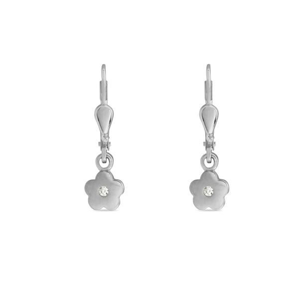 Kinder Ohrhänger 925 Silber bewegliche Blumen mit Zirkonia