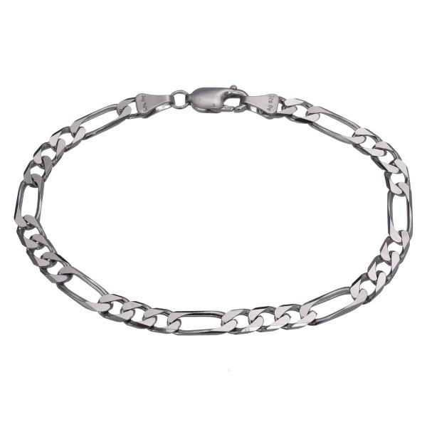 Herrenarmband 925 Silber Figaro drei zu eins 21 cm lang