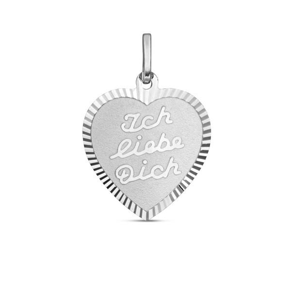 Anhänger 925 Silber Herz Ich liebe Dich - 17 x 16,5 mm