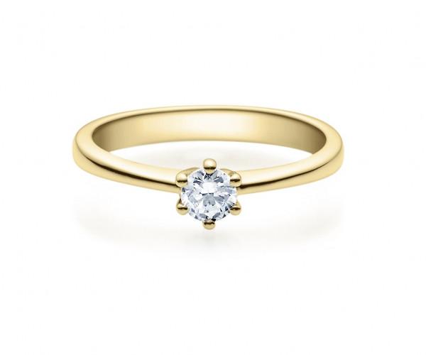 Verlobungsring 585 Gold - 0,25 Karat Brillant in 6-Krappenfassung
