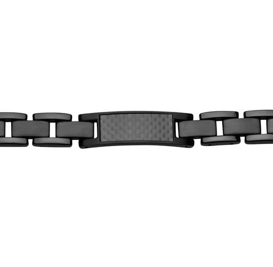 Herrenarmband in Edelstahl schwarz mit Carbon Inlay STEELWEAR