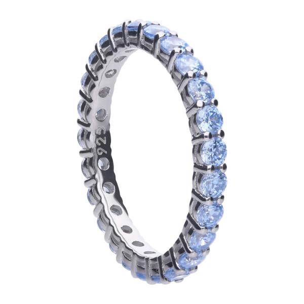 Ring Silber mit Zirkonia hellblau Diamonfire