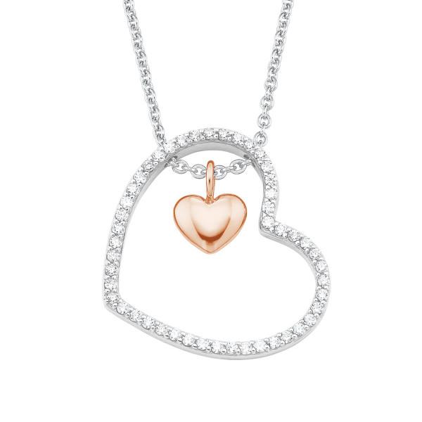 Halskette mit zwei Herzen Zirkonia teil rosevergoldet von s.Oliver
