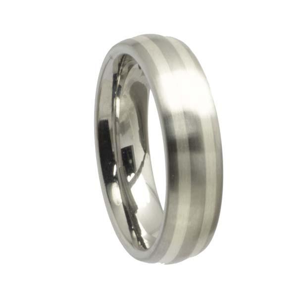 Edelstahlring Freundschaftsring runde Form 6 mm mit Silberstreifen
