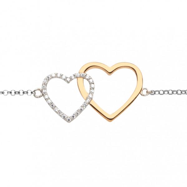 Silver Trends Armkette Doppelherz silber rosegold