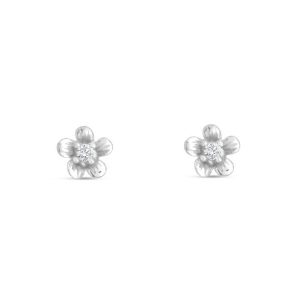 Kinder Ohrstecker 925 Silber Blume 5,6 mm, weißer Zirkonia