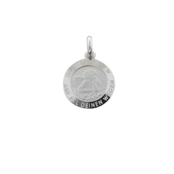 Anhaenger rund mit Engelsbild 925 Silber rhodiniert