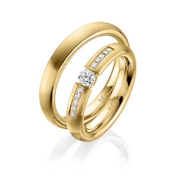 Trauringe 585 Gelbgold Eheringe Hochzeitsringe Spannring RU-1047-2-585GG