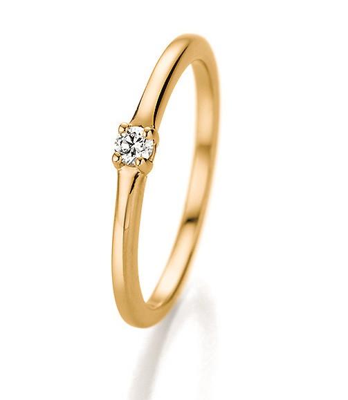 Verlobungsring 585 Gold - 0,06 Karat Brillant in 4-Krappenfassung
