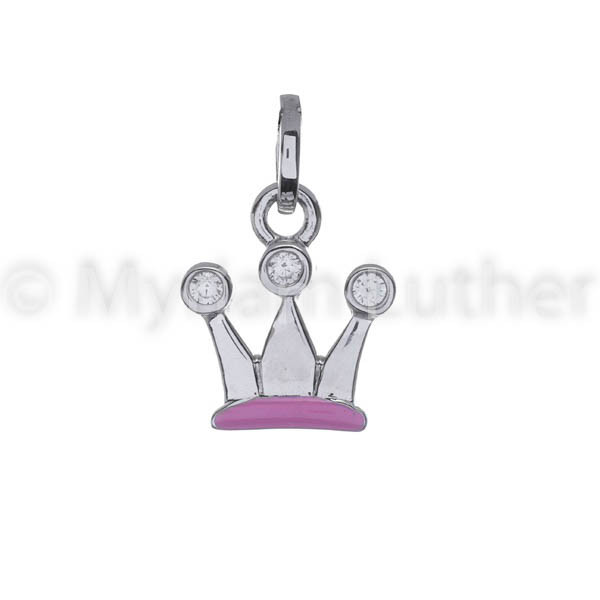 Kinder Anhaenger Krone rosa 925 Silber rhodiniert