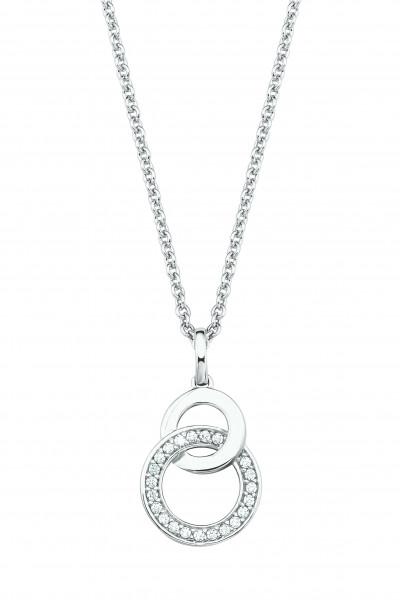 Halskette mit Doppelkreis und Zirkonia von s.Oliver