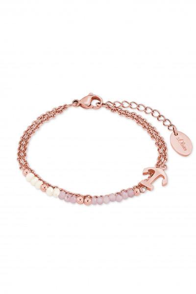 Armkette Edelstahl rosegoldfarben mit Anker Anhänger zweireihig s.Oliver