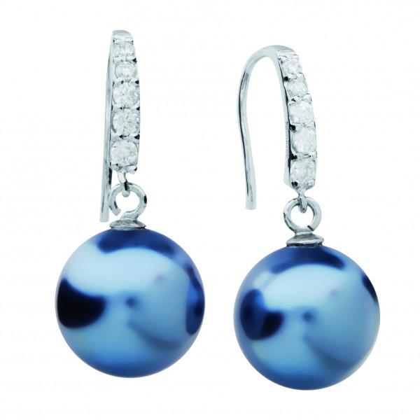 Ohrringe mit Fashion Perle blau - Silver Trends