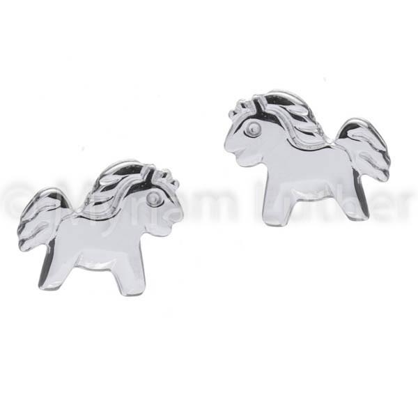 Kinder Ohrstecker Ponys 925 Silber rhodiniert
