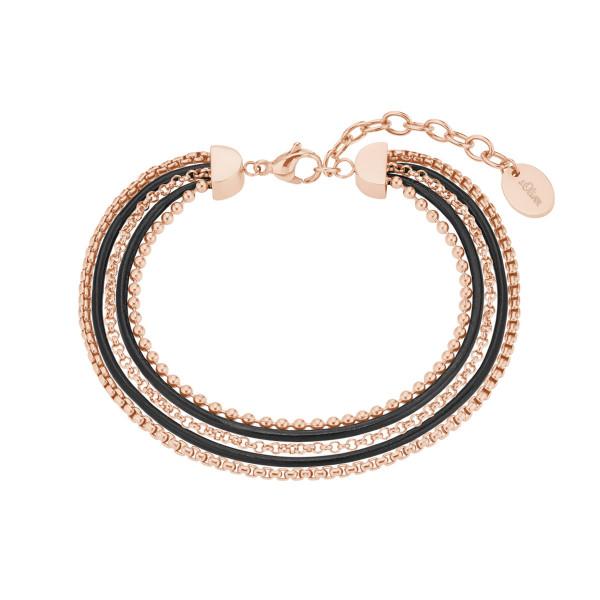Damen Armband Edelstahl rosegold farben m. Leder schwarz s.Oliver