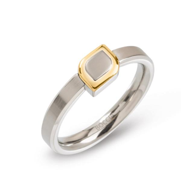 Titan Ring matt - poliert gerade Form 3 mm teil-goldplattiert Blüte von BOCCIA Titanium