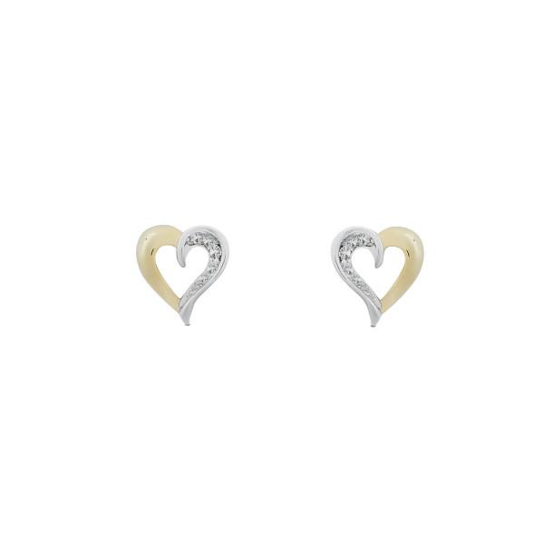 Ohrstecker Herz mit Zirkonia-Steichen ca. 6,5 mm 333 Gold/Weißgold