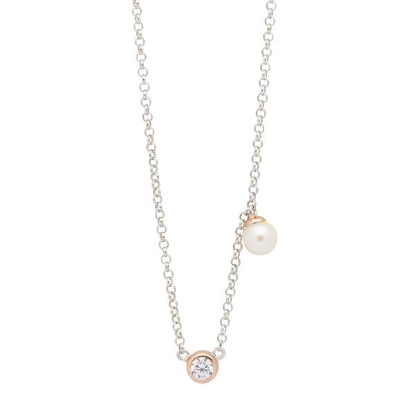 Collier Silber mit Perle und Zirkonia teils rosegold farben für Damen by Nana Kay