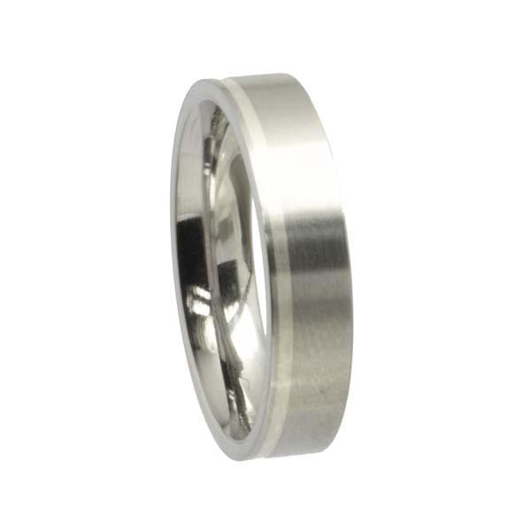 Edelstahlring mit Silberstreifen gerade 5 mm