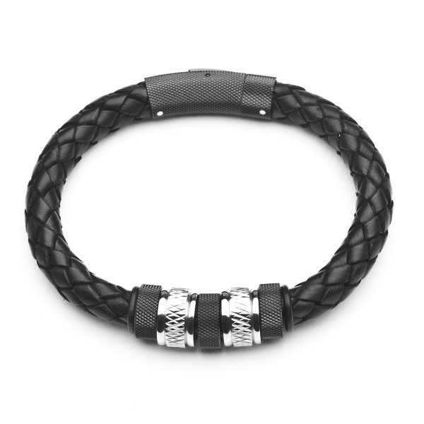 Herrenarmband in Leder schwarz mit Edelstahl STEELWEAR