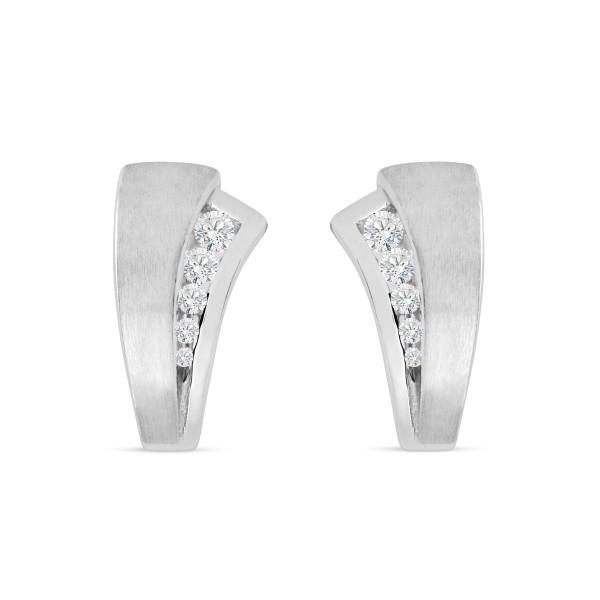 Creolen 925 Silber matt und poliert mit zehn Zirkonia 9,4 mm breit