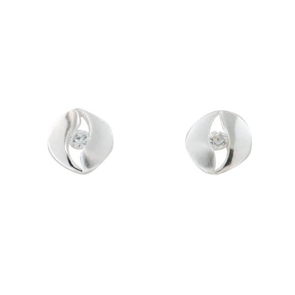 Ohrstecker 925 Silber in Augenform mit Zirkonia