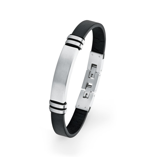 Armband für Männer Leder schwarz Edelstahl silber farben mit Gravurplatte s.Oliver