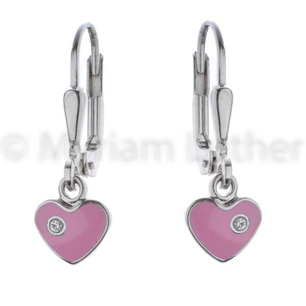 Kinder Ohrhänger Herz rosa 925 Silber rhodiniert
