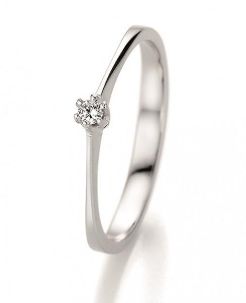Verlobungsring 585 Weissgold 0,06 ct. Brillant