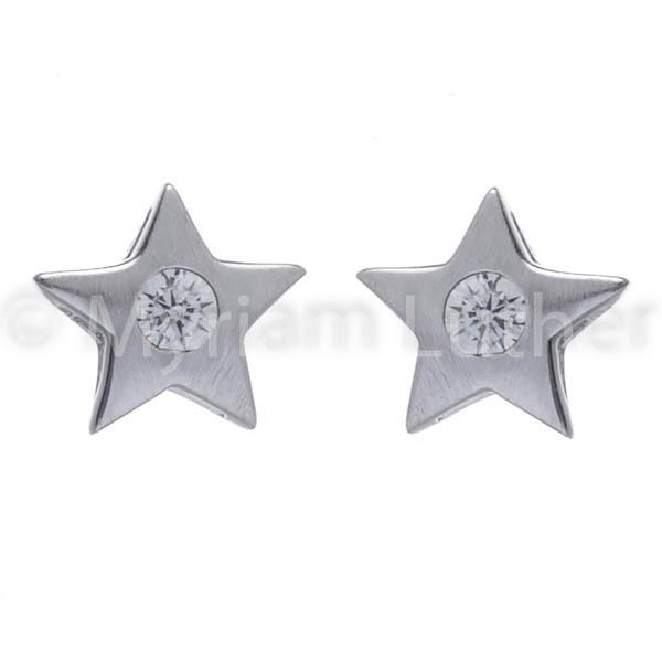 Kinder Ohrstecker Sterne m. Zirkonia weiss kristall 925 Silber rhodiniert