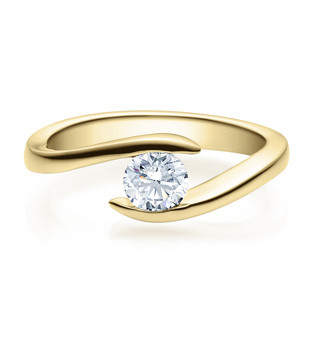 Verlobungsring Twisted 585 Gold - Gelbgold Halbkaraeter Diamant