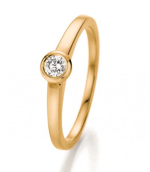 Verlobungsring Zargenfassung in 585 Gelbgold mit Brillant 0,15 Karat