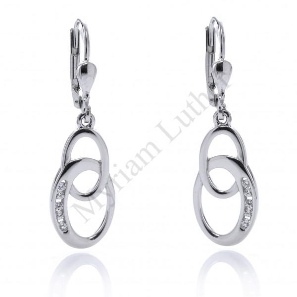 Ohrringe 925 Silber mit Anhänger zwei Kreise